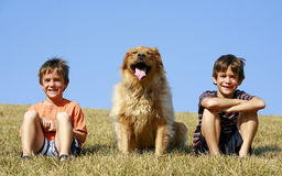 Boys and Dog on a Hill Stock Images