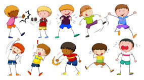 Boys doing different activities. Illustration Royalty Free Stock Image
