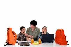 Boys doing homework Stock Image
