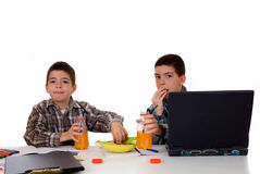 Boys doing homework Royalty Free Stock Image