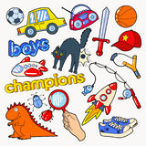 Boys Doodle with Toys and Funny Elements Stock Photo