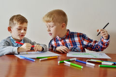 Boys are drawing Stock Images