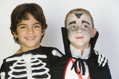 Boys Dressed In Halloween Costumes Royalty Free Stock Photo