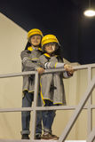 Boys dressed like firefighters Royalty Free Stock Photography
