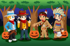 Boys dressed up as cowboys and Native Americans. A vector illustration of boys dressed up as cowboys and Native Americans for Halloween Stock Photos