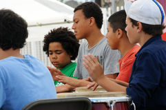 Boys drumming at Los Angeles festival Royalty Free Stock Photography