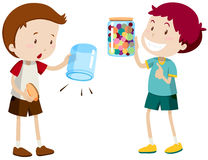 Boys with empty jar and full jar. Illustration Royalty Free Stock Images