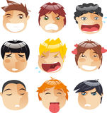 Boys expresion set. Head People Little boys faces Avatar Profile Set, with boy wink, mad boy, crying boy, annoyed boy, blonde crying boy, in love boy, thinking Stock Photography