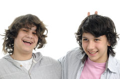 Boys expressing friendship concept. Two happy teens having fun together Stock Photo