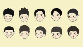 Boys face emotion cartoon Stock Photo