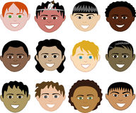 Boys Faces. 12 diverse boys faces. Also available in children, girls, women and men faces. Vector Stock Illustration