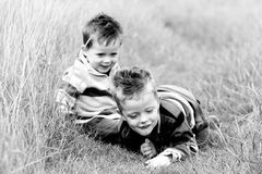 Boys in field. Two brothers playing in a long grass field Royalty Free Stock Image