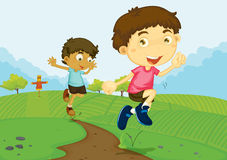 Boys in a field. Illustration of 2 boys jumping along a path Vector Illustration