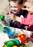 Boys fighting easter eggs Royalty Free Stock Images