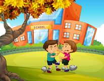 Boys Fighting in front of School. Illustration Royalty Free Stock Photography