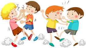 Boys fighting and getting hurt. Illustration Royalty Free Stock Photo