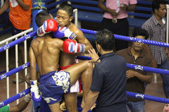 Boys fighting muay-thai. Boys fighting at Bangla Boxing Stadium in Patong, Phuket, Thailand Royalty Free Stock Photography