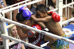 Boys fighting muay-thai. Muay Thai competition at Bangla Boxing Stadium in Patong, Phuket, Thailand Stock Images