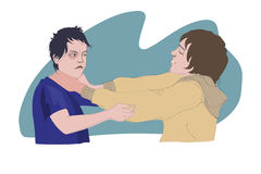 Boys fighting. Vector illustration of two boys fighting Stock Photography