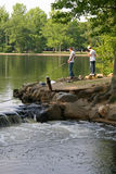 Boys fishing royalty free stock photos