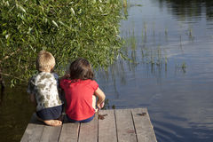 Boys fishing Royalty Free Stock Photos