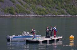 Boys fishing on dock Royalty Free Stock Photography