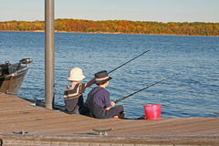 Boys Fishing In The Autumn Royalty Free Stock Image
