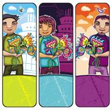 Boys with flowers banners Royalty Free Stock Photography