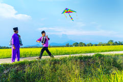 Boys flying a kite in a paddy field Stock Image