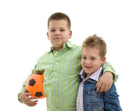 Boys with football Stock Photo
