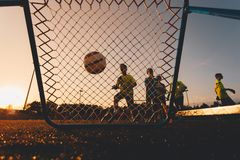 Boys Football Goalkeepers Improving Skills on Soccer Training. Kids Soccer Goalkeeper Training Session stock photography