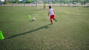 Boys footballers are passing ball and kicking goal. Training on arena stock video footage