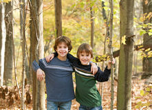 Boys in the Forest Royalty Free Stock Photos
