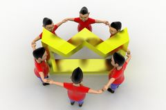 Boys Form Circled Group  In Crown Royalty Free Stock Photography