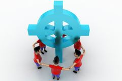 Boys Form Circled Group  In Holy Cross Royalty Free Stock Photography