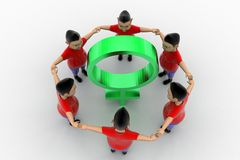 Boys Form Circled Group  In Women Symbol Stock Photo