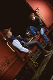 Boys on freight train Royalty Free Stock Photo