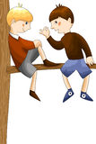 Boys friends tree character cartoon style  illustration wh Royalty Free Stock Photos