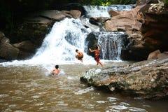 Boys Funny Waterfall Royalty Free Stock Image