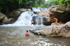 Boys Funny Waterfall Stock Photos