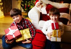 Boys with gifts Royalty Free Stock Images