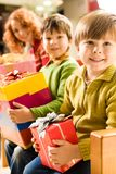 Boys with gifts Royalty Free Stock Photos