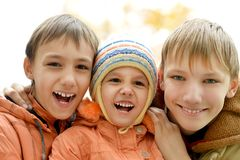 Boys and a girl Royalty Free Stock Photo