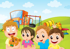 Boys and girl in the playground Stock Photos