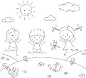 Boys and a girl playing in the meadow. Coloring book Stock Photo
