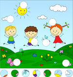 Boys and a girl playing in the meadow. Complete the puzzle and f Royalty Free Stock Photo
