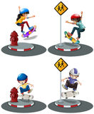 Boys and girl playing skateboard Stock Images