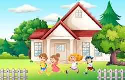 Boys and girl running in the backyard Royalty Free Stock Photos