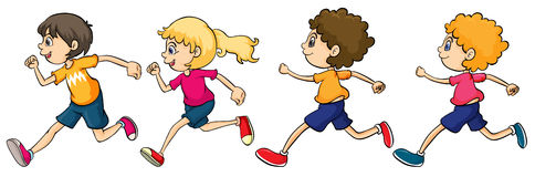 Boys and Girl Running. Illustration of boys and a girl running Royalty Free Illustration