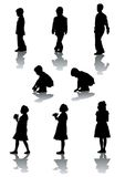 Boys and girls. Vector drawing young children. Silhouettes on white background Stock Photography
